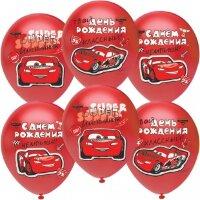 Воздушный шар (12''/30 см) Тачки, С Днем Рождения, Чемпион!, Красный (803), пастель, 1 ст, 25 шт.