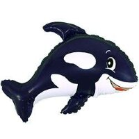 Шар (14''/36 см) Мини-фигура, Веселый кит, Черный, 5 шт.