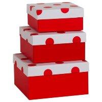 Набор коробок 3 в 1, В точку, Красный