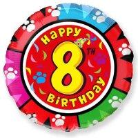 Шар (18''/46 см) Круг, 8 Цифра, Happy Birthday, 1 шт.