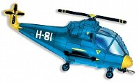 Шар (17''/43 см) Мини-фигура, Вертолет, Синий, 1 шт.