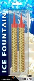 Свеча Фонтан для торта, Золото, 10 см, 2 шт.