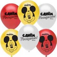 Воздушный шар (12''/30 см) Микки Маус, Ассорти, пастель, 2 ст, 25 шт.