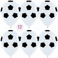 Шар (12''/30 см) Футбольный мяч, Белый (005), пастель, 5 ст, 12 шт.
