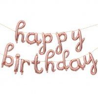 """Набор шаров-букв (17''/43 см) Мини-Надпись """"Happy Birthday"""" (курсив), Розовое Золото, 1 шт. в упак."""