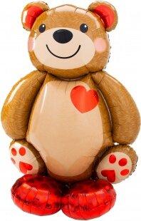 Шар (36''/91 см) Ходячая Фигура, Мишка с сердцем, 1 шт. в упак.