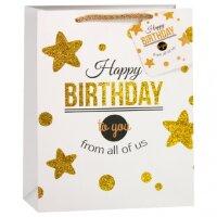 Пакет подарочный Золотые звезды, с блестками, Черный/Белый, 18*23*10 см