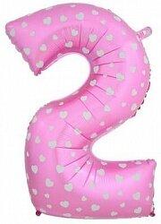 Шар (40''/102 см) Цифра, 2 Сердечки, Розовый, 1 шт. в упак.
