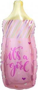 Шар (33''/84 см) Фигура, Бутылочка для малышки (сердечки), Розовый, 1 шт.