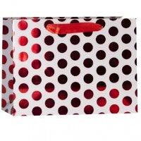 Пакет подарочный, Красные точки, Белый, 31*42*12 см, 1 шт.