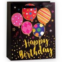 Пакет подарочный, С Днем Рождения (воздушные шарики), Черный, с блестками, 32*26*12 см, 1 шт.