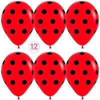 Шар (12''/30 см) Черные точки, Красный (015), пастель, 5 ст, 12 шт.