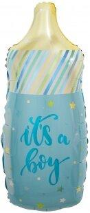 Шар (33''/84 см) Фигура, Бутылочка для малыша (звездочки), Голубой, 1 шт.