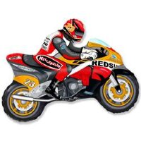 Шар (12''/30 см) Мини-фигура, Мотоцикл, Оранжевый, 5 шт.
