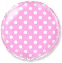 Шар (18''/46 см) Круг, Белые точки, Розовый, 1 шт.