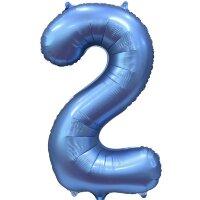 Шар (34''/86 см) Цифра, 2, Синий, Сатин, 1 шт. в упак.