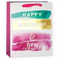 Пакет подарочный, С Днем Рождения (акварельные штрихи), 32*26*12 см, 1 шт.