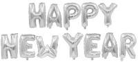"""Набор шаров-букв (16''/41 см) Мини-Надпись """"Happy New Year"""", Серебро, 1 шт. в упак."""