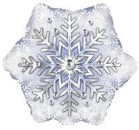 Шар (22''/56 см) Фигура, Снежинка, Серебро, 1 шт.