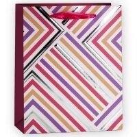 Пакет подарочный, Геометрия линий, Розовый, 32*26*12 см, 1 шт.