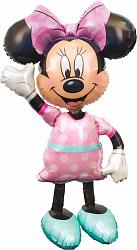 Шар (54''/137 см) Ходячая Фигура, Минни, розовое платье, 1 шт. в упак.