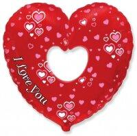 Шар (12''/30 см) Мини-сердце, Я Люблю Тебя (множество сердец), 5 шт.