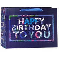 Пакет подарочный, С Днем Рождения (разноцветные буквы), Черный/Сиреневый, 33*43*12 см, 1 шт.