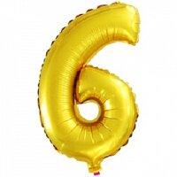 Шар с клапаном (16''/41 см) Цифра, 6, Золото, 5 шт.