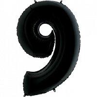 Шар (40''/102 см) Цифра, 9, Черный, 1 шт.