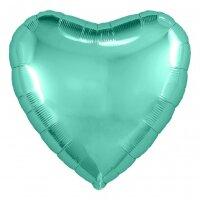 Шар (18''/46 см) Сердце, Бирюзовый, 1 шт.