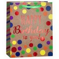 Пакет подарочный, С Днем Рождения! (разноцветное конфетти), 32*26*12 см, 1 шт.