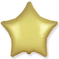 Шар (18''/46 см) Звезда, Золото, Сатин, 1 шт.