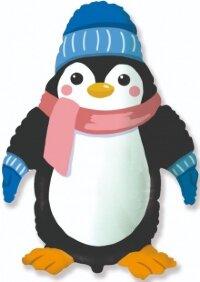Шар (39''/99 см) Фигура, Пингвин в шапочке, 1 шт.