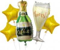 Набор шаров (37''/94 см) Брызги Шампанского, Золото, 5 шт. в упак.