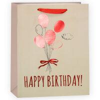 Пакет подарочный, С Днем Рождения (шарики), Бежевый/Красный, Металлик, 23*18*10 см, 1 шт.