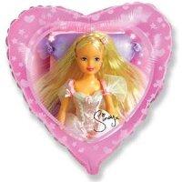 Шар (18''/46 см) Сердце, Сказочная Синди, Розовый, 1 шт.
