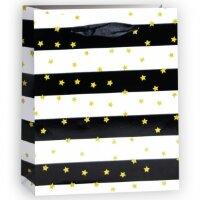 Пакет подарочный, Золотые звезды, Черный/Белый, 23*18*10 см, 1 шт.
