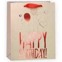 Пакет подарочный, С Днем Рождения (шарики и сердечки), Бежевый/Красный, Металлик, 23*18*10 см, 1 шт.