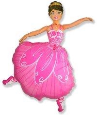 Шар (14''/36 см) Мини-фигура, Балерина, Розовый, 5 шт.