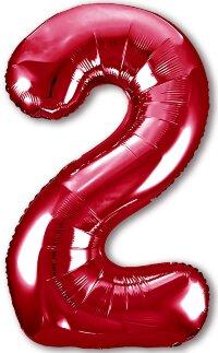 Шар (40''/102 см) Цифра, 2 Slim, Красный, 1 шт. в упак.