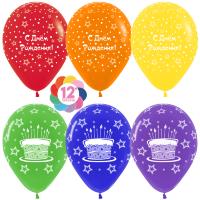 Шар (12''/30 см) С Днем Рождения! (торт и звезды), Ассорти, пастель, 5 ст, 50 шт.