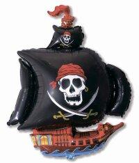 Шар (41''/104 см) Фигура, Пиратский корабль, Черный, 1 шт.