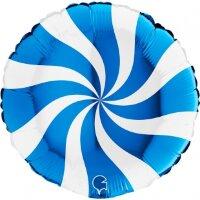 Шар (18''/46 см) Круг, Леденец, Синий/Белый, 1 шт.