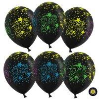 Шар (12''/30 см) С Днем Рождения (разноцветные звезды, кометы), Черный (299), пастель, 5 ст, 100 шт.