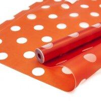 Упаковочная матовая пленка (0,6*7,5 м) Прозрачные точки, Красный, 1 шт.