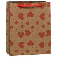 Пакет подарочный Сердца, крафт,  11,5*6*14,5 см
