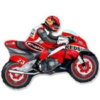 Шар (12''/30 см) Мини-фигура, Мотоцикл, Красный, 5 шт.