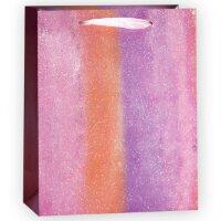 Пакет подарочный, Сиреневая радуга, Градиент, с блестками, 23*18*10 см, 1 шт.