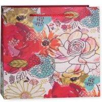 Пакет подарочный, Цветочная акварель, Красный, с блестками, 20*20*8 см, 1 шт.
