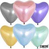 Сердце (12''/30 см) Ассорти, хром, 50 шт.